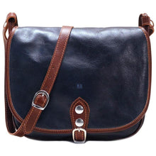 Load image into Gallery viewer, Leather Saddle Bag Floto Procida blue monogram