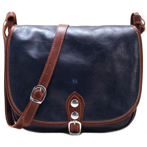 Leather Saddle Bag Floto Procida blue monogram