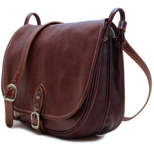 Load image into Gallery viewer, Leather Saddle Bag Floto Procida brown