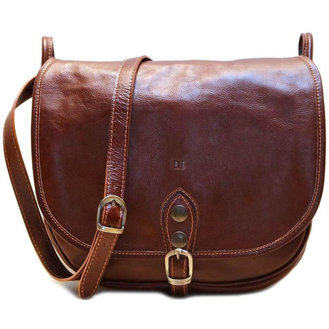 Sale Leather Saddle Bag Floto Procida brown monogram 09015a14c06a7