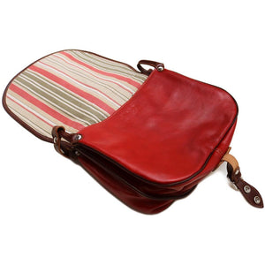 Leather Saddle Bag Floto Procida open