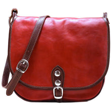 Load image into Gallery viewer, Leather Saddle Bag Floto Procida red