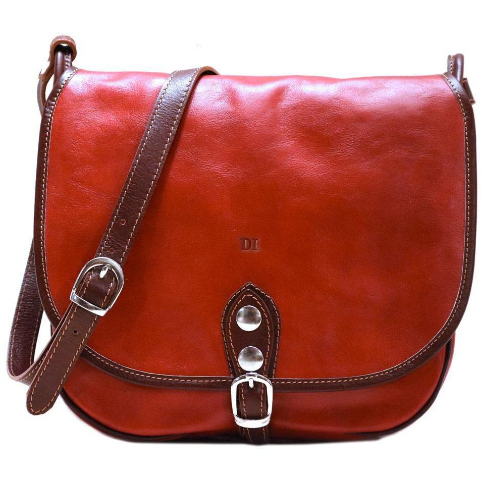 Leather Saddle Bag Floto Procida red monogram