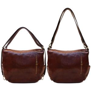 Leather Saddle Hobo Satchel Bag Roma