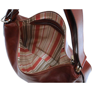 Leather Saddle Hobo Satchel Bag Floto Roma