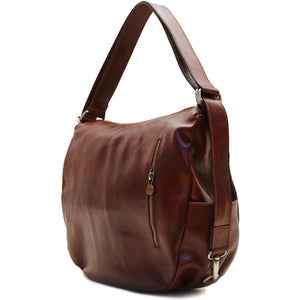 Leather Saddle Hobo Satchel Bag Roma Brown