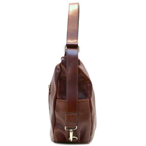 Leather Saddle Hobo Satchel Bag Floto Roma end