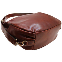 Load image into Gallery viewer, Leather Saddle Hobo Satchel Bag Floto Roma bottom