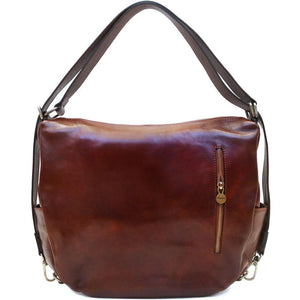 Leather Saddle Hobo Satchel Bag Floto Roma Brown