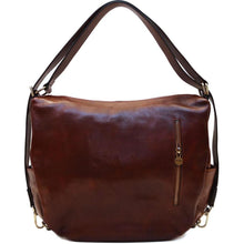 Load image into Gallery viewer, Leather Saddle Hobo Satchel Bag Floto Roma Brown