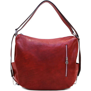 Leather Saddle Hobo Satchel Bag Floto Roma red