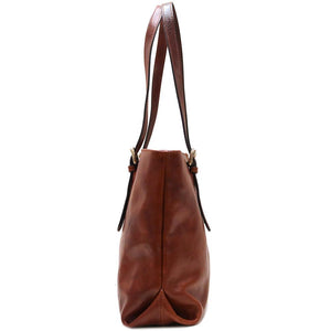 leather shopping tote bag floto venezia brown