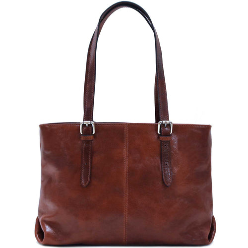 Floto Italian Leather shopping tote bag venezia women's shoulder bag brown