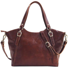 Load image into Gallery viewer, floto leather handbag ischia brown