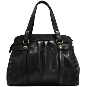 leather shoulder handbag floto milano black