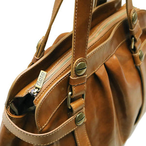 Leather Shoulder Bag Floto Milano Olive Brown