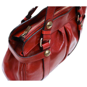 leather shoulder handbag floto milano shoulder bag red close