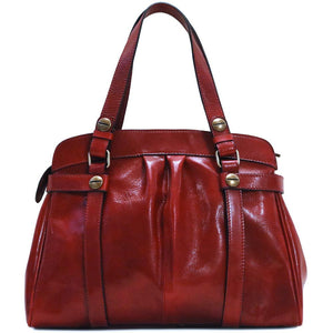leather shoulder handbag floto milano shoulder bag red