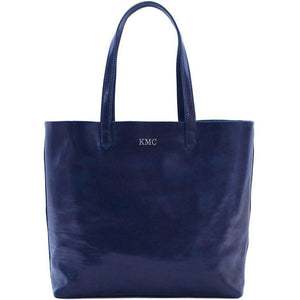 leather shoulder tote bag floto piazza monogram blue