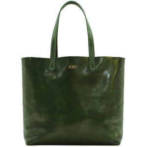 leather shoulder tote bag floto piazza monogram green