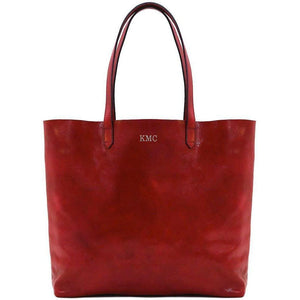 leather shoulder tote bag floto piazza monogram red