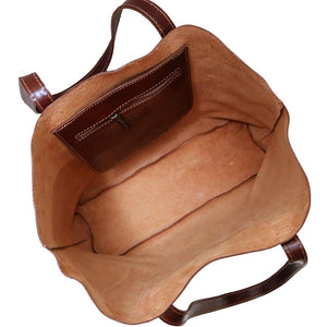 leather shoulder tote bag floto piazza inside
