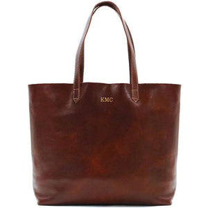 leather shoulder tote bag floto piazza monogram brown