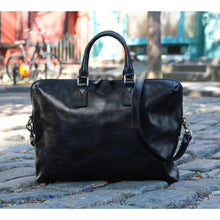 Load image into Gallery viewer, Leather Slim Briefcase Floto Milano black outside