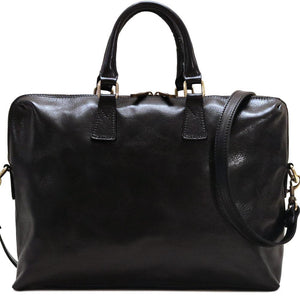 Leather Slim Briefcase Floto Milano black