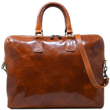 Load image into Gallery viewer, Floto Italian Leather Slim Briefcase Milano olive brown honey