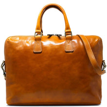 Load image into Gallery viewer, Floto Italian Leather Slim Briefcase Milano yellow amber