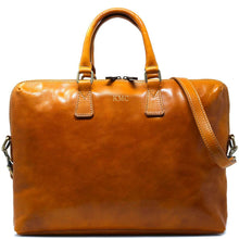 Load image into Gallery viewer, Leather Slim Briefcase Floto Milano monogram yellow
