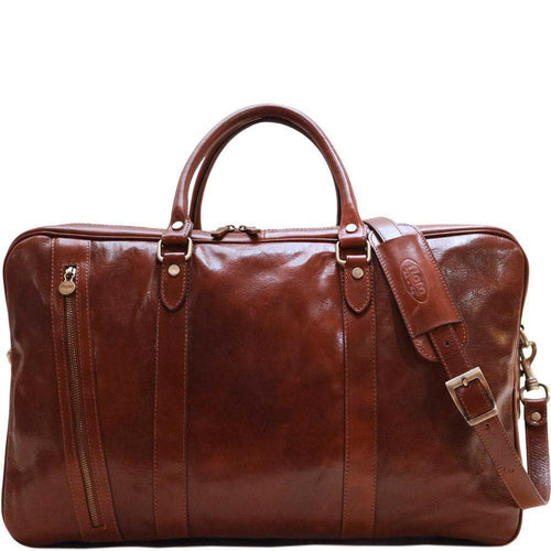 Floto Italian Leather Suitcase Duffle Bag Travel Bag Weekender brown