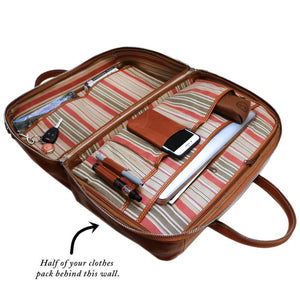 Leather Suitcase Duffel Bag Floto Venezia Tempesti inside angle