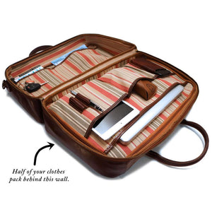 Leather Suitcase Duffle Bag Venezia Inside