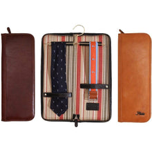 Load image into Gallery viewer, leather tie case floto brown, olive, and black floto