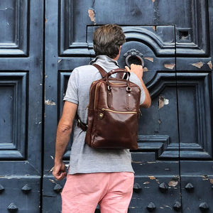 Leather Backpack top handle bag Floto Firenze 2