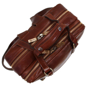 Leather Backpack top handle bag Floto Firenze brown 3