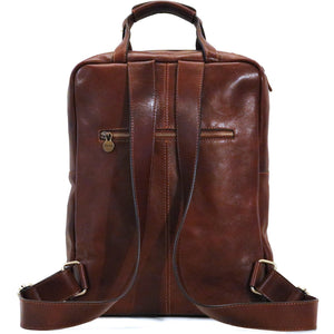Leather Backpack top handle bag Floto Firenze brown 4