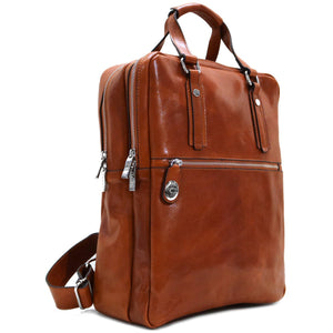 Leather Backpack top handle bag Floto Firenze olive 2