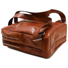 Load image into Gallery viewer, Leather Backpack top handle bag Floto Firenze olive bottom