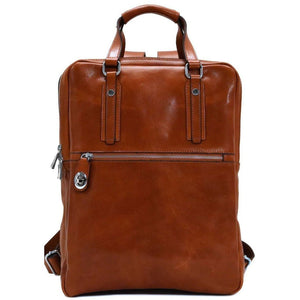 Italian Leather Backpack top handle bag Floto Firenze olive brown