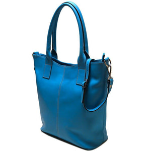 leather tote bag floto ischia blue