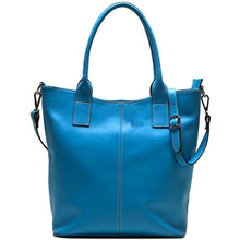 Load image into Gallery viewer, leather tote bag floto ischia blue monogram