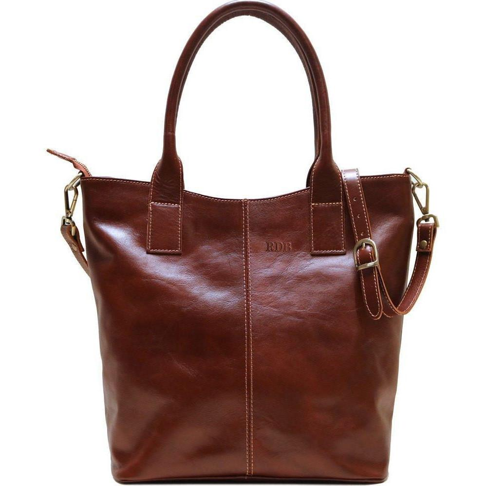leather tote bag floto ischia brown monogram