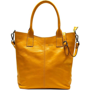 leather tote bag floto ischia yellow monogram