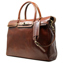 Load image into Gallery viewer, Floto Italian Leather Shoulder Tote Bag brown 2