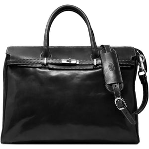 Floto Italian Leather Shoulder Tote Bag in Black