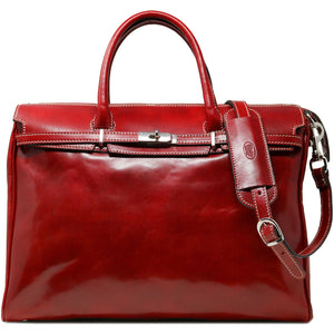 Floto Italian Leather Shoulder Tote Bag in Tuscan Red