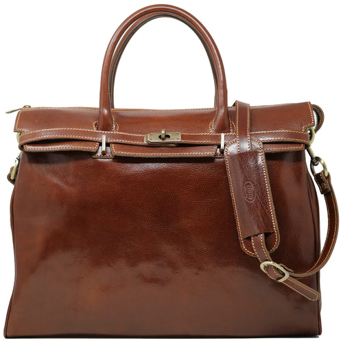 Floto Italian Leather Shoulder Tote Bag in brown